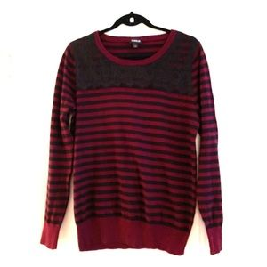 Burgundy & black striped sweater with lace collar